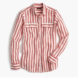 J Crew Red and White Striped Shirt - 6